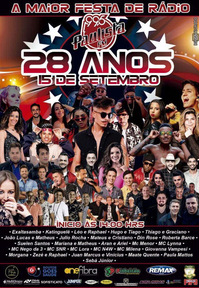 A PAULISTA FM FARÁ FESTA DE ANIVERSÁRIO NO PRÓXIMO DOMINGO COM MAIS DE 30 ARTISTAS