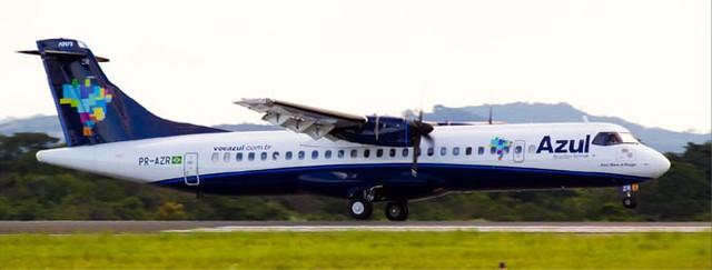 Aeronave turboélice da Azul Linhas Aéreas, com 70 lugares, vai operar a rota entre Bauru/Arealva e Cumbica — Foto: Divulgação/Azul