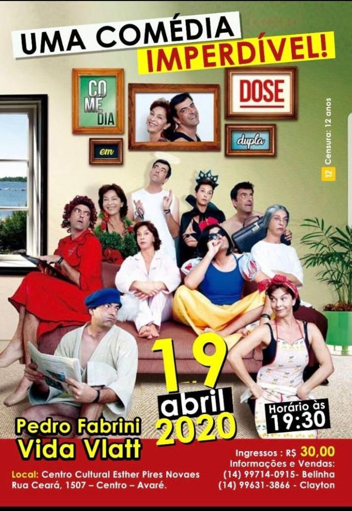 Espetáculo 'Comédia em Dose Dupla' chega ao Centro Cultural de Avaré, SP