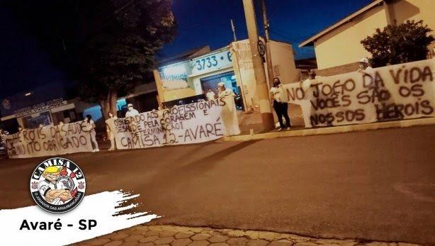 Organizadas do Corinthians promove ato em solidariedade em apoio os profissionais de saúde