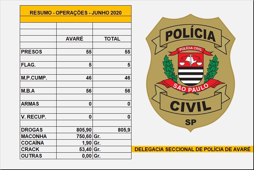 Polícia Civil divulga resultado das operações de junho na região de Avaré